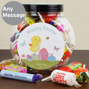 Personalised Easter Meadow Chick Sweets Jar