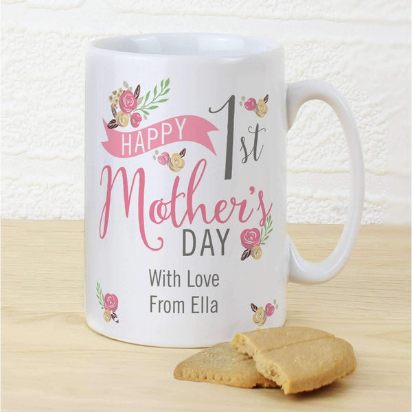 Personalised Floral Bouquet 1st Mothers Day Slim Mug