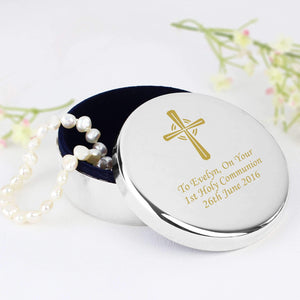 Personalised Gold Cross Trinket Box - Ideal For Rosary Beads