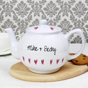 Personalised Hearts Teapot