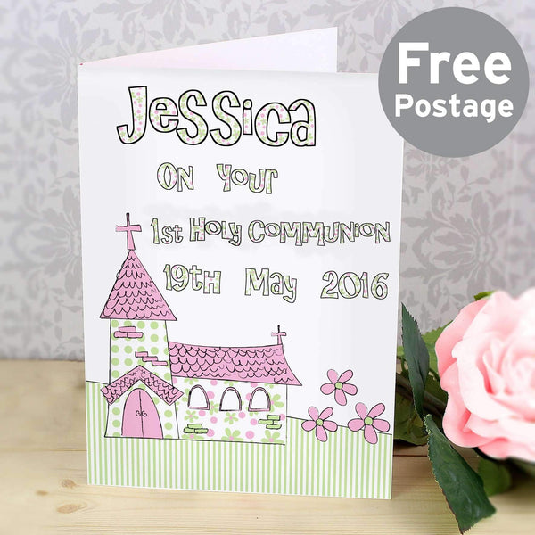 Personalised Pink Church Card