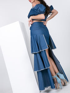 Denim Tiered Skirt