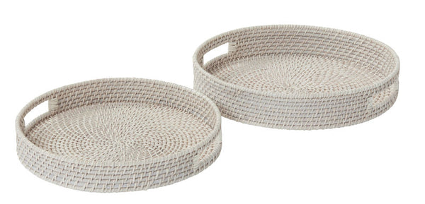 Shop Rattan Tray White Wash Round at Rose St Trading Co