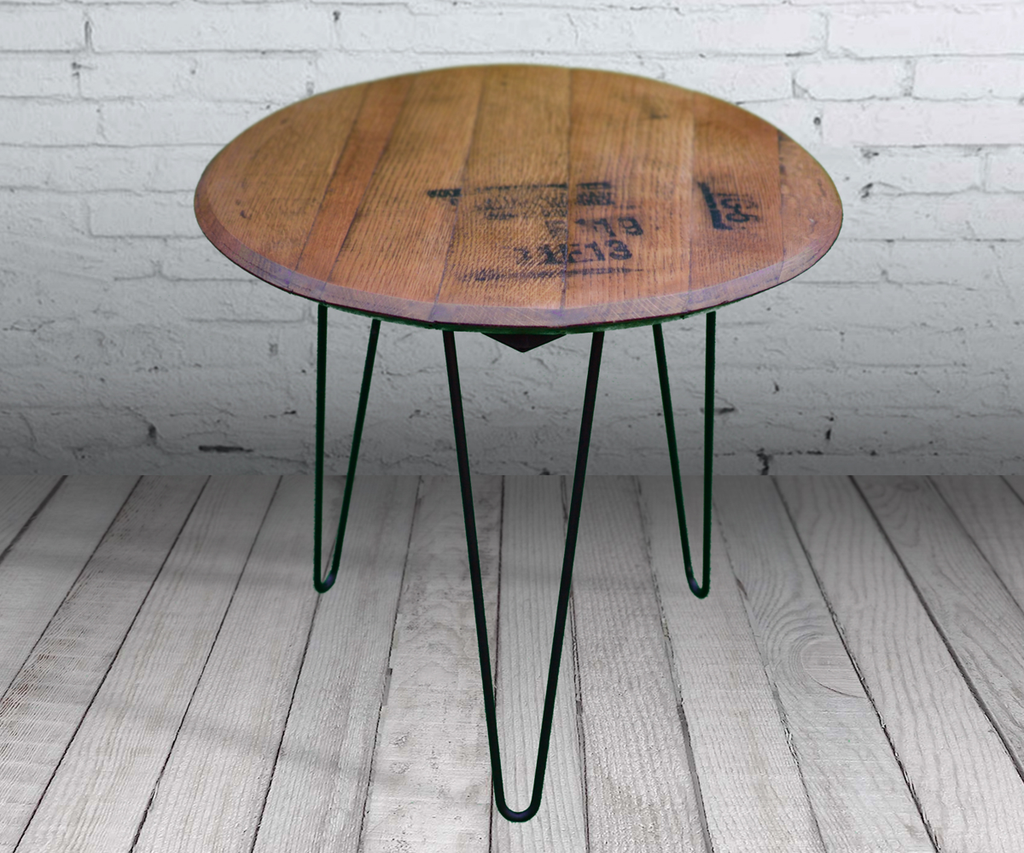 Bourbon Barrel Hairpin Leg Table