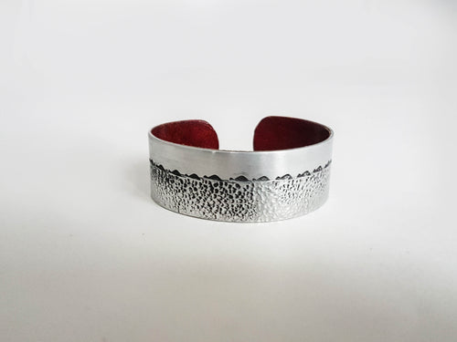 1 Inch Hammered Metal & Leather Cuffs
