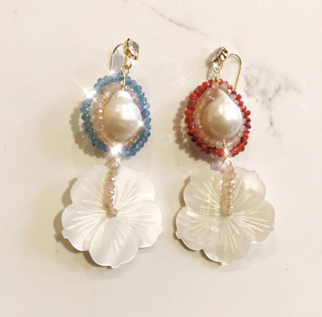 Baroque Pearl & Carved Mother of Pearl Flower Gold Plated Earrings