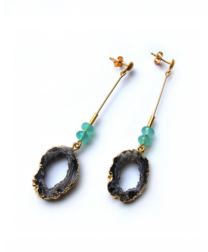 Black Geode Earrings