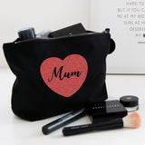 Mum Glitter Heart make up bag
