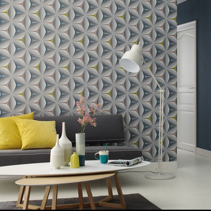 Illusion Geometric Wallpaper | Grey, Yellow, Pink & TealThis beautiful design has a real futuristic style.