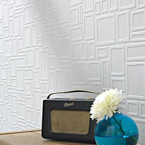 SALE Square White Textured Paintable Wallpaper | White 1 Roll Left
