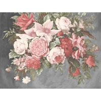 Hand Painted Look Floral Wallpaper Mural in Grey, Red & Pink