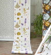 Herbarium Pressed Flower Effect Floral Wallpaper | Heather / Purple and Green