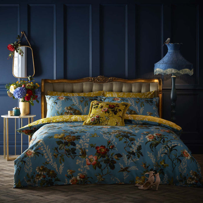 Oasis 'Leighton' Designer Floral & Bird Bedding | Blue, Ochre, Orange, Green & Pink