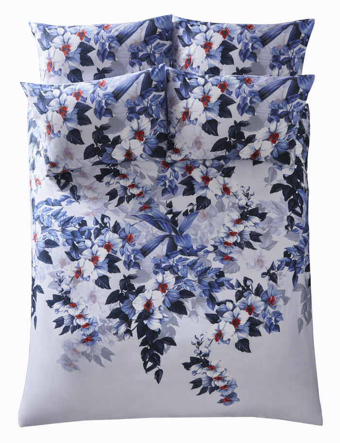 Oasis 'Exotica' Designer Floral Bedding Duvet Set | White, Navy Blue & Red