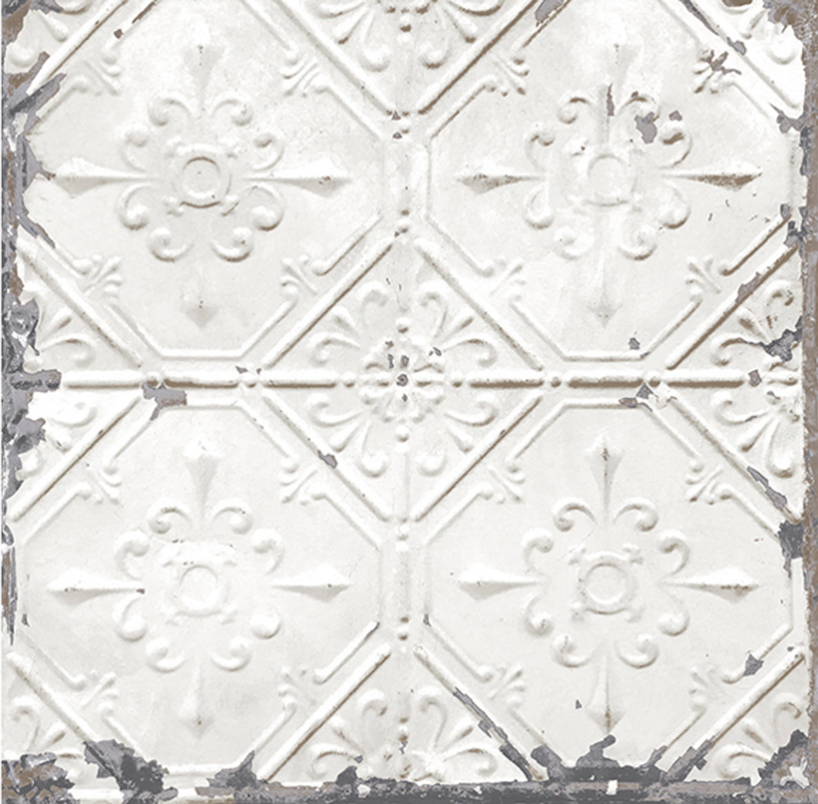 Chelsea tin tile effect wallpaper white metallic silver your 4 walls - American tin tiles wallpaper ...