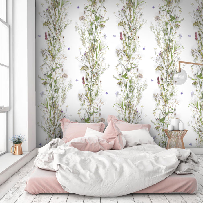 'Nostalgia' Floral Wallpaper | White, Green, Purple & Pink