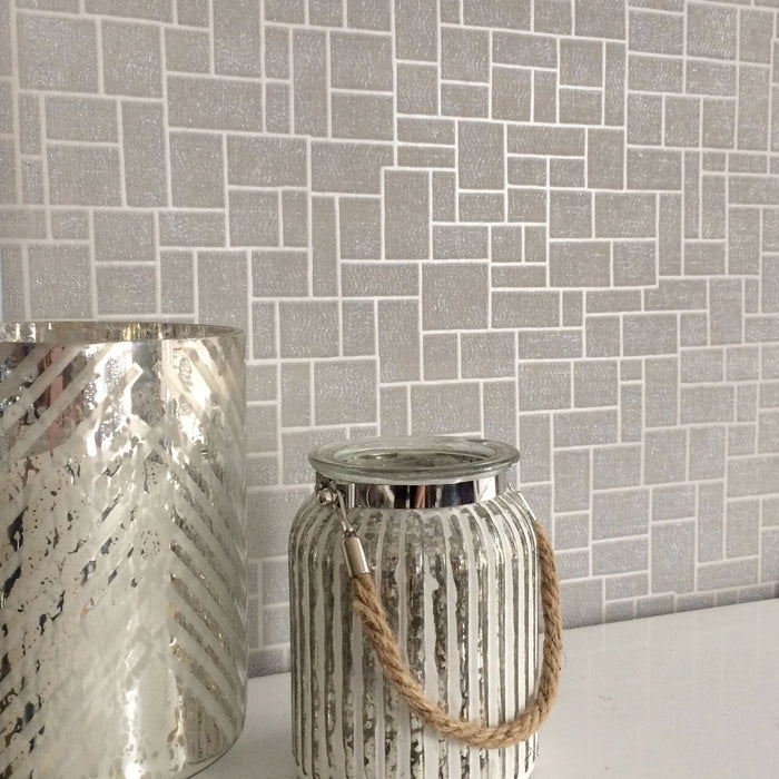 SALE Opulent Tile | Silver, Natural Taupe/Grey & Metallic Geometric Tile Wallpaper