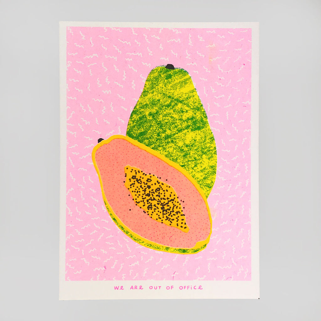 One and a Half Papaya Riso Print - We Are Out Of Office