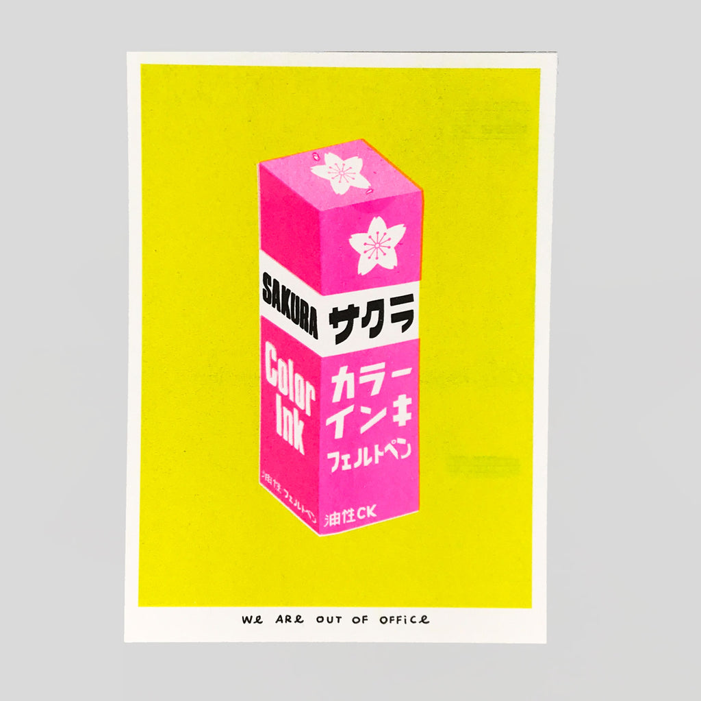 Pink Sakura Ink Riso Print - We Are Out Of Office
