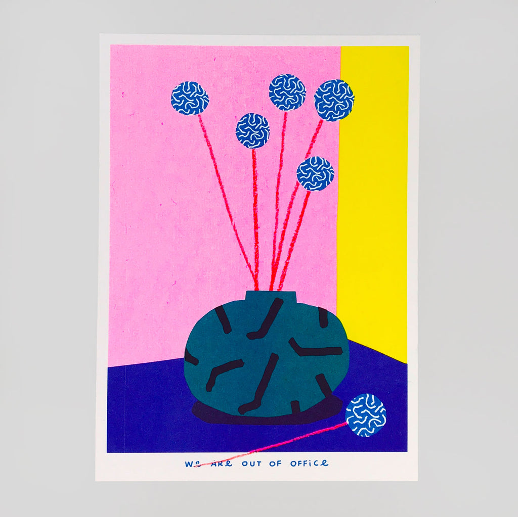 Small Vase of Blue Billy Buttons Riso Print - We Are Out Of Office