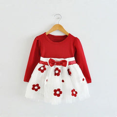 Winter Long Sleeve Baby Girls Dress For Girl Christening Birthday