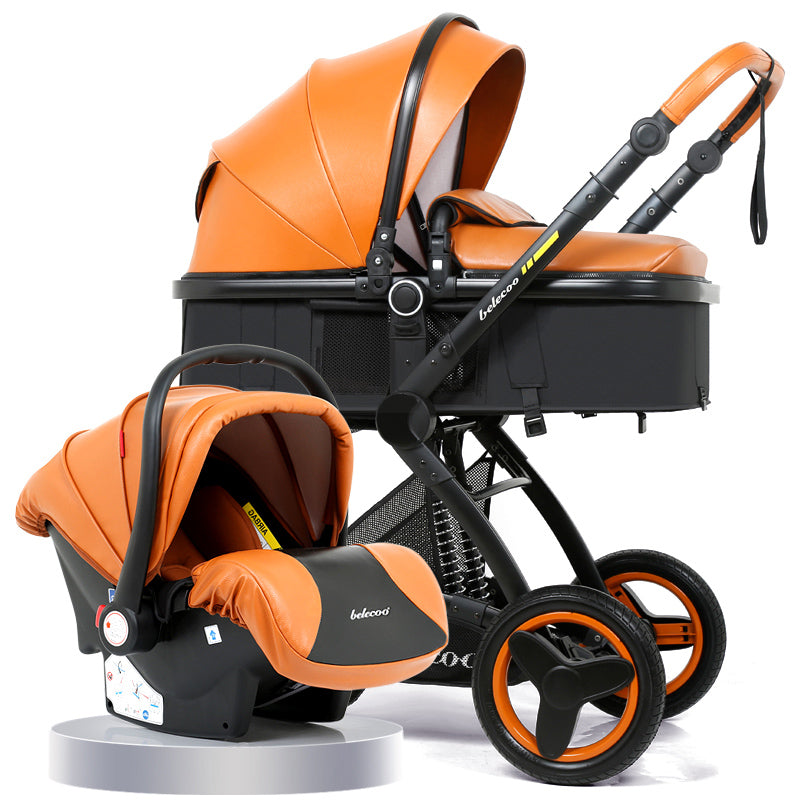 3 in 1 Carrycot Seat 2 in 1 Stroller  With Car Seat Baby Carriage High-landscape Pram