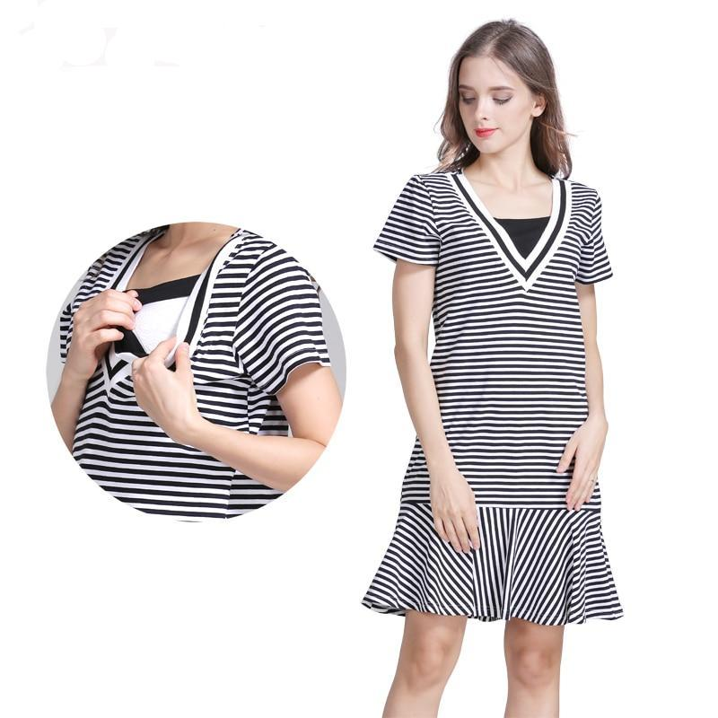 Cotton Striped Maternity clothes pregnancy dresses for nursing dress Breastfeeding
