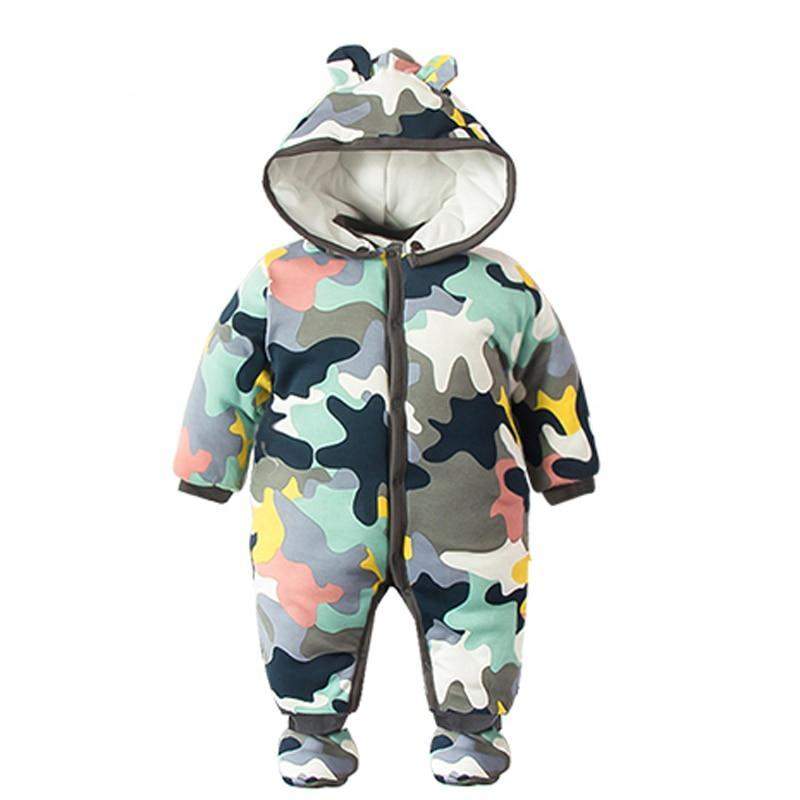 Thick Warm Clothing Camo Long Sleeve Hooded Jumpsuit Newborn Outwear