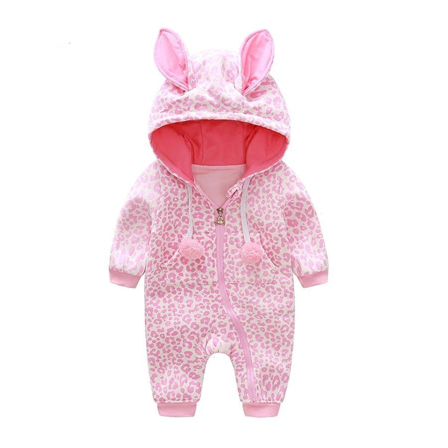 Spring Newborn Baby Romper Leopard print Long Sleeve Jumpsuit Hooded