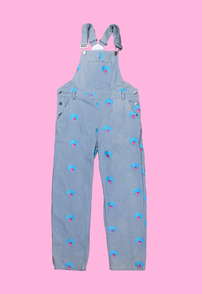 Clam Dunk Embroidered Denim Overalls