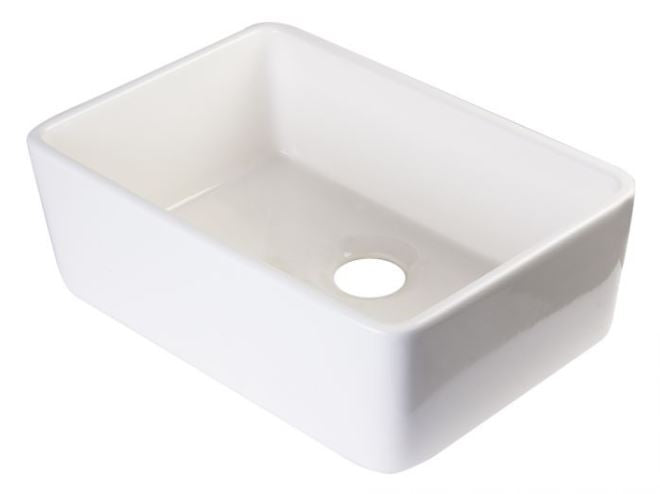 "ALFI brand AB503 23"" Smooth Apron  Fireclay Single Bowl Farmhouse Kitchen Sink"