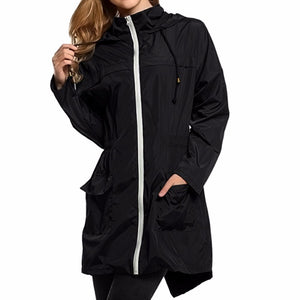 Women Lightweight Travel Waterproof Raincoat Hoodie Windproof Hiking Coat Jacket