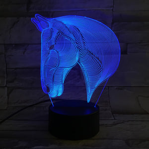 3D Horse Head Visual LED Night Light Atmosphere 7 Colors Touch Switch