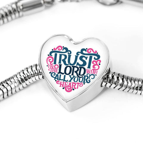 Trust in The Lord, White Heart Charm Bracelet