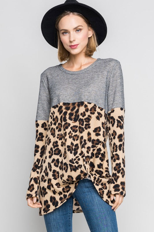 Leopard Print Paneled Top