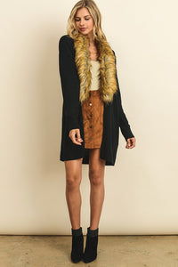 Faux Fur Collar Cardigan