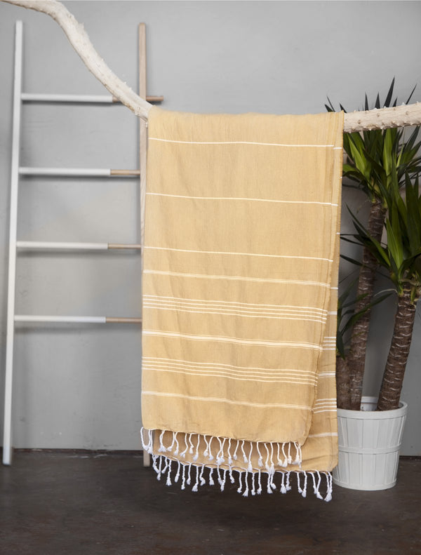 Authentic light Turkish towel - mustard