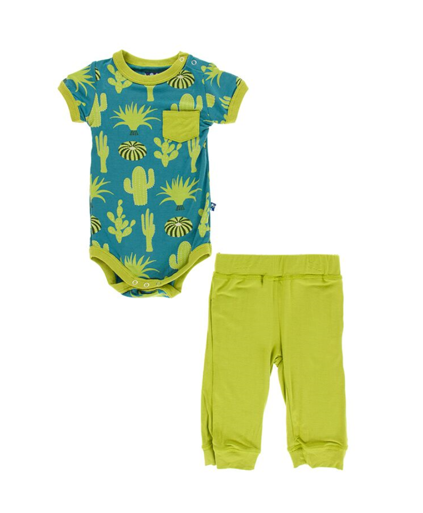 S/S Pocket One Piece and Pant set - Seagrass Cactus