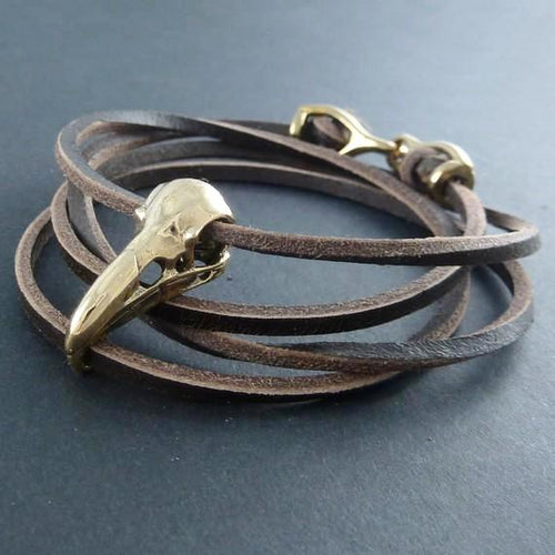 Raven Bronze Bird Skull Leather Bracelet - Goth Mall