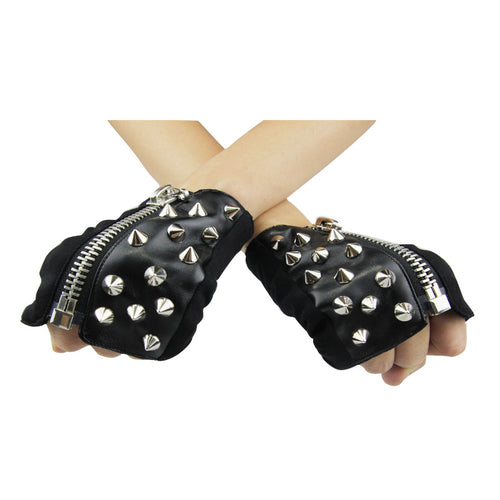 Vegan Leather Fingerless Studded Black Gothic Motorcycle Half Gloves for Men or Women - Goth Mall