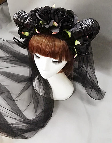 Black Rose Ram Horns Hairpiece - Goth Mall