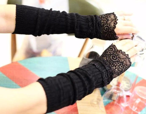 Elegant Long Gothic Lace Fingerless Gloves - Goth Mall