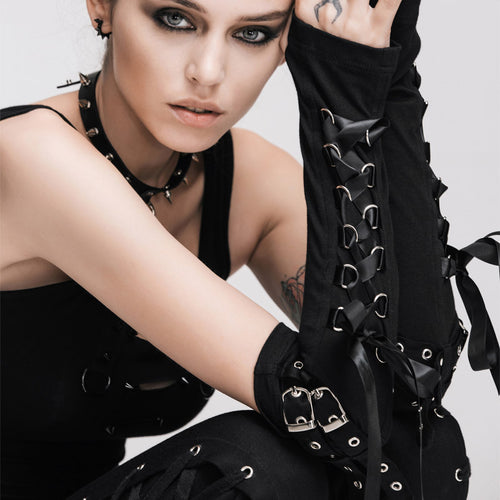Gothic Steampunk Lace-up Gloves - Goth Mall