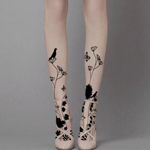 Raven & Flowers Tattoo Tights - Goth Mall