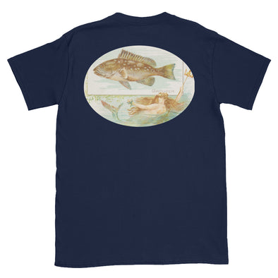 Vintage Fishing T-Shirt with Grouper and Mermaid
