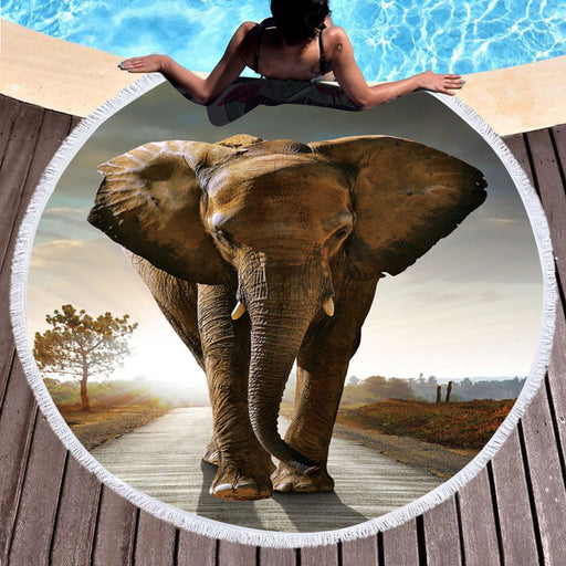 3d Printed Microfiber Round Beach Towel Large Summer Towel Toalla Cover Up Elephant 150cm - Dropshipful.com