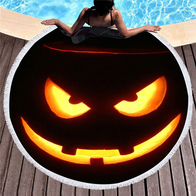 Halloween Summer Round Beach Towel Microfiber Large Bath Towel 150cm - Dropshipful.com