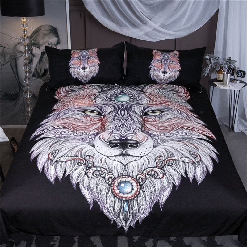 Dropshipful Tattoo Head Wolf Bedding Set Wild Beast Boys Duvet Cover Set 3Pcs - Dropshipful.com