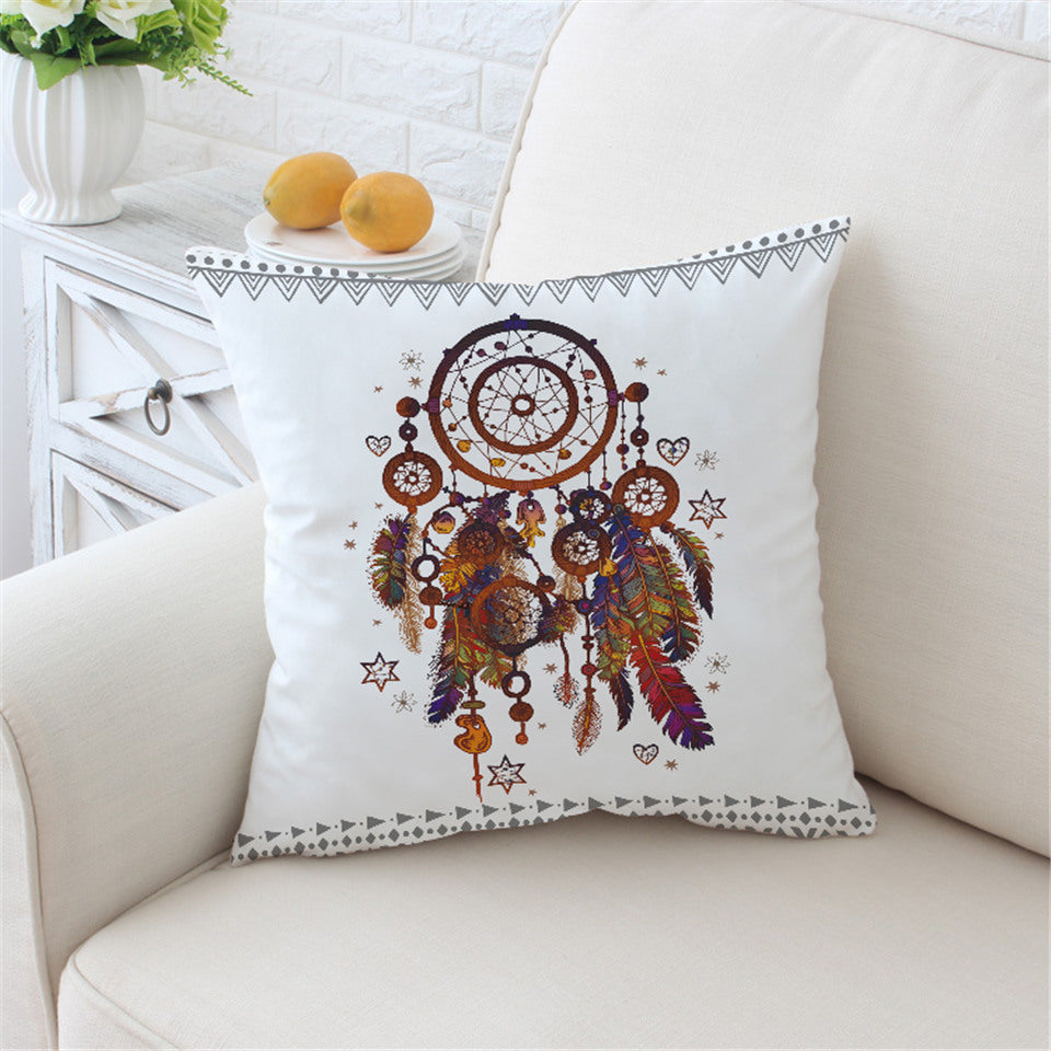 Hipster Watercolor Cushion Cover Dreamcatcher Feathers Pillow Case Microfiber Bohemian Throw Cover 2 Sizes - Dropshipful.com