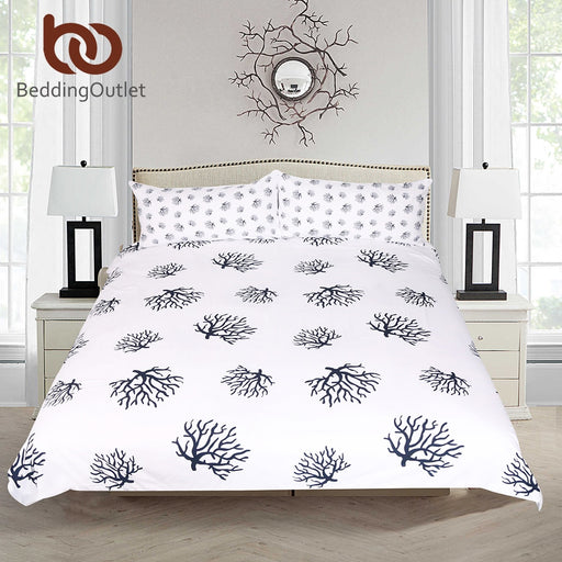 Dropshipful Coral Bedding Set Animal Printed Duvet Cover With Pillowcase Dark Blue and White Bed Set Cozy Home Bedclothes 3pcs - Dropshipful.com